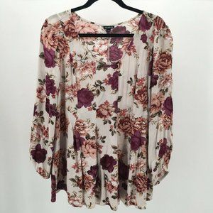 Torrid Floral Print Pleated Balloon Long Sleeve Bl